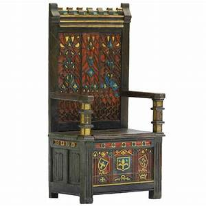 Arts And Crafts Throne Chair Polychrome Monks Bench Settle