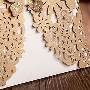 Wishmade 50x Gold Laser Cut Bronzing Wedding Invitations