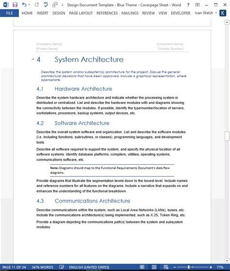 software design document template design document template