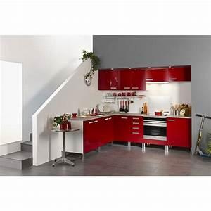 Meuble Bas D Angle Cuisine : meuble bas d 39 angle glossy rouge ~ Teatrodelosmanantiales.com Idées de Décoration