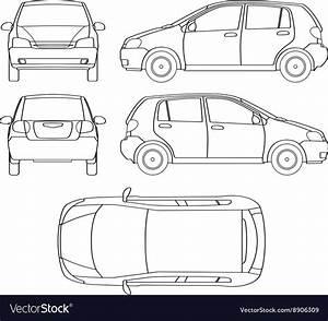 Car Line Draw Hatchback Insurance Rent Damage Vector Image