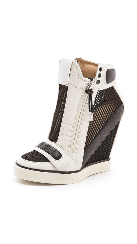 platform leather sneakers lyst l a m b mesh wedge sneakers in black