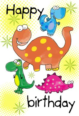 happy birthday dinosaurs  printable birthday card