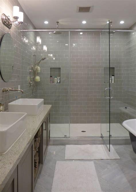 contemporary master bathroom  rain shower daltile