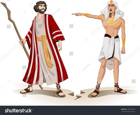 Vector Illustration Pharaoh Sending Moses Away Stock