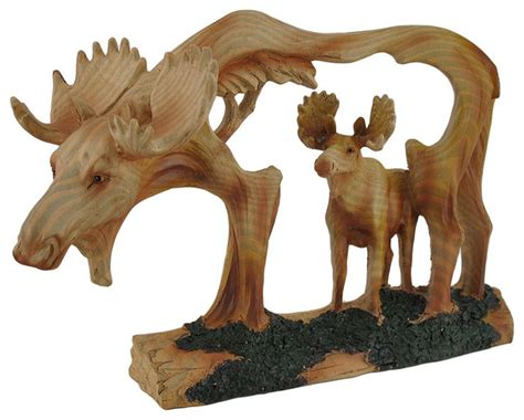 carved wood  cutout moose  moose sculpture rustic