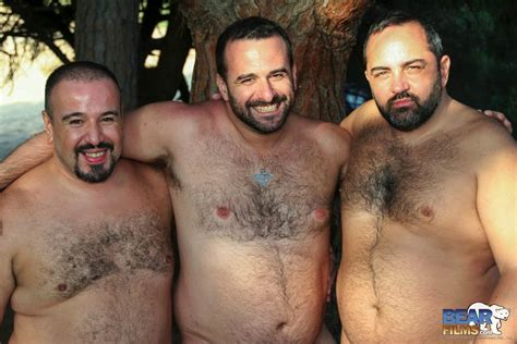 chubby bears meet in the woods for a threesome with great blowjobs and ass fucking