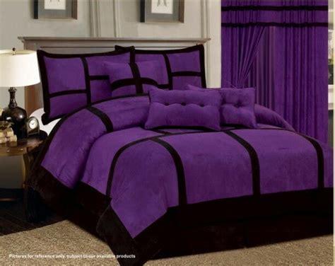 7-pc Purple Black Comforter Set Micro Suede California