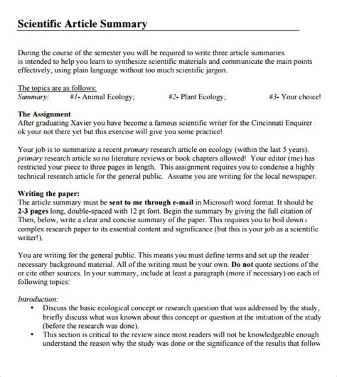 Research Synopsis Template by 7 Article Summary Sles Sle Templates