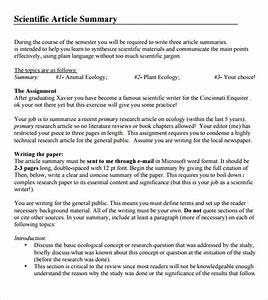 Article summary template 7 download documents in pdf for Science article summary template