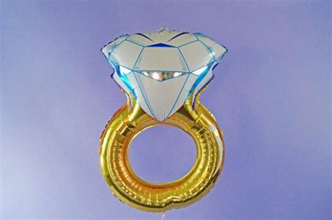 free shipping wedding engagement ring mylar foil balloon bachelorette engagement