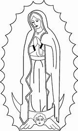Coloring Guadalupe Mary Virgin Catholic Lady Virgen Feast sketch template