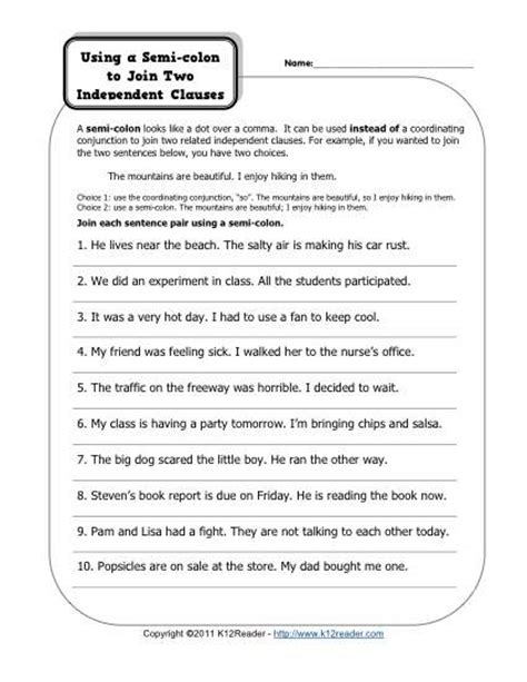 colons and independent clauses free printable