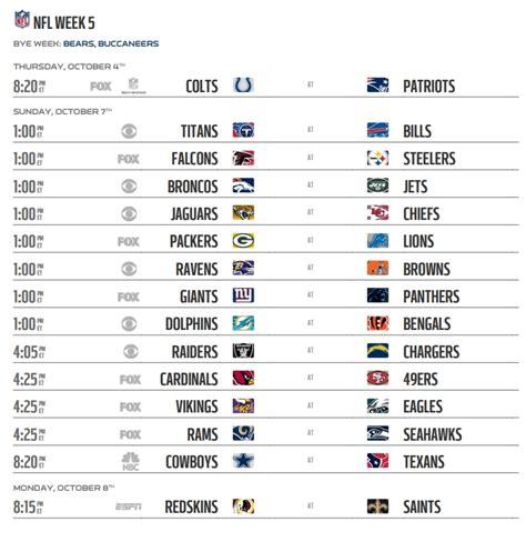 nfl  schedule week  regular season