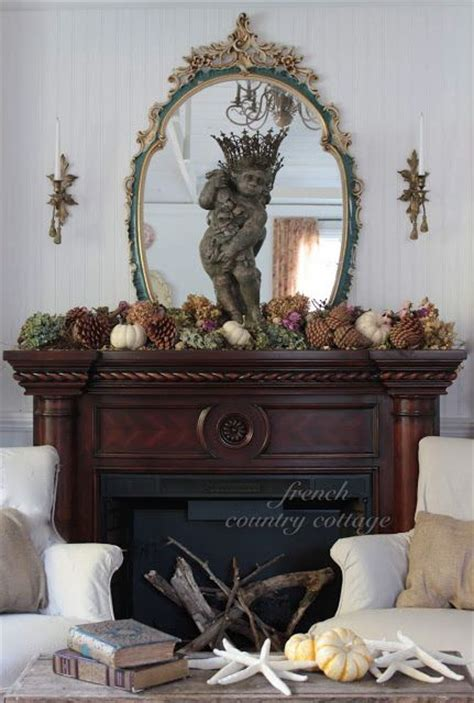 french country cottage natural autumn mantel autumnfall decorating pinterest mantels