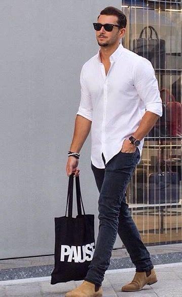 Black Jeans White Button Tan Shoes Mens Fashion