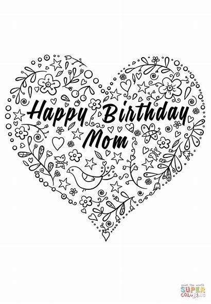 Coloring Birthday Happy Mom Pages Printable Cards