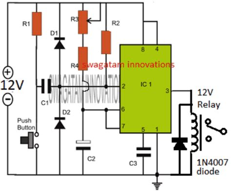 50hz 220v Wiring Diagram by Simple Adjustable Ic 555 Timer Circuit With Relay