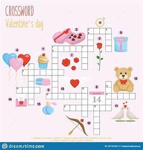 Easy Crossword Puzzle  Valentine S Day  Stock Vector