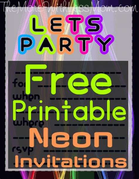 diy glow party teen birthday  printable neon