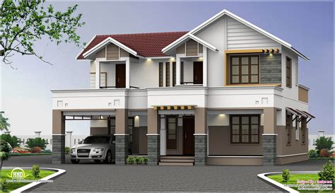 Two Story House Plans-Kerala: Perspective Series - House