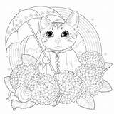 Coloring Cat Cats Rainbow Simple Pages Umbrella Animals sketch template