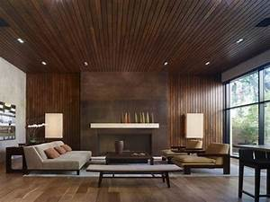 Contemporary Living Room And Attain Wooden Panel For