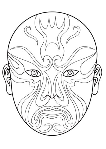 chinese opera mask  coloring page  printable
