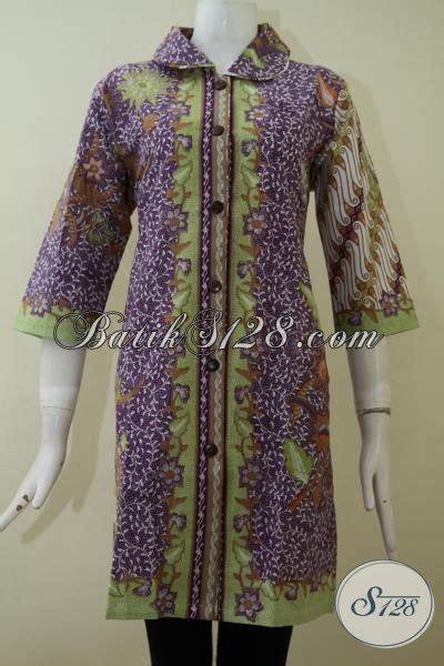 dress batik wanita lengan tiga perempat baju batik print