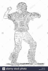 Pen and Ink Drawing of a Baseball Catcher about to throw ...