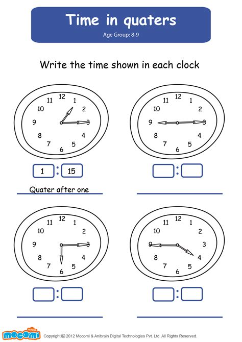 time  quarters math worksheet  kids mocomi