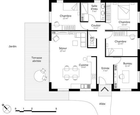 les 3 chambres plan maison moderne avec 3 chambres ooreka