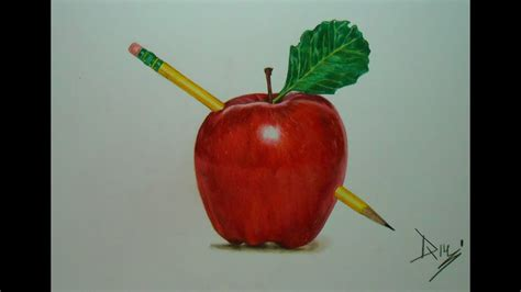 drawing  apple drawing  prismacolor colored