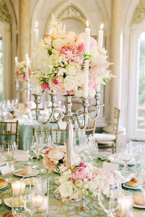 White and Pink Rose Silver Wedding Reception Centerpiece