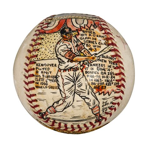 lot detail ken boyer signed folk art painted baseball