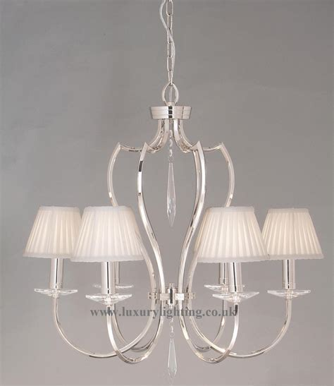 Elstead Pimlico Polished Nickel 6 Light Chandelier with