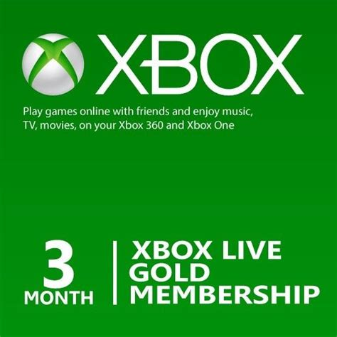 Xbox Live And Xbox Live Gold Microsoft 3 Month Xbox Live Gold Membership Subscription