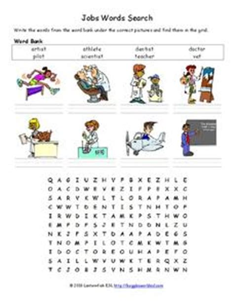 jobs word search worksheet  st  grade lesson planet