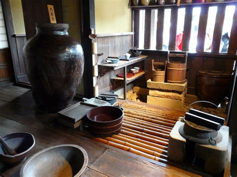 Inside The Kitchen Of An Old Japanese Samurai House With