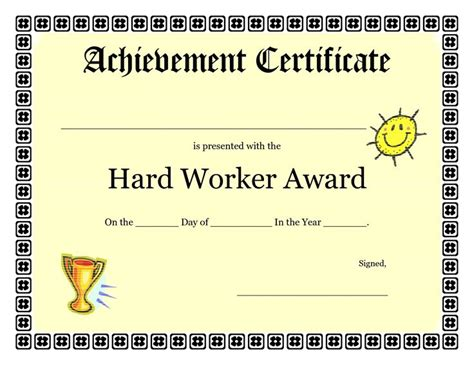 printable achievement certificates kids hard worker