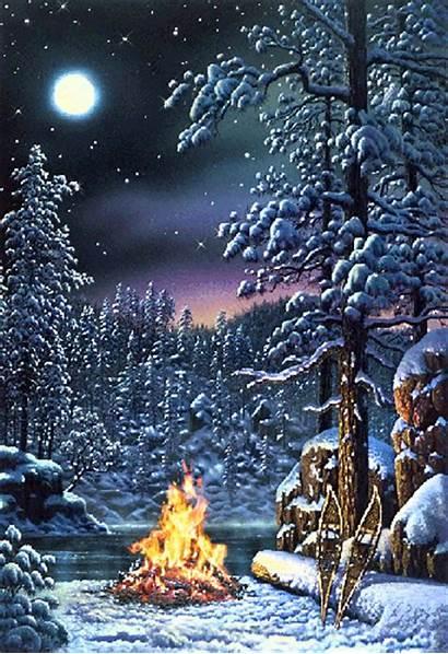 Winter Night Animated Animation Snow Gifs Scene