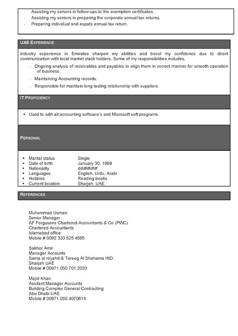 Free Resume/Biodata/C V Download: ACCOUNTANT FORMATS
