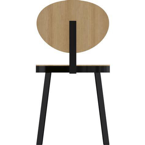 chaise acier objeto bim y cad chaise ds no6 acier noir et chene