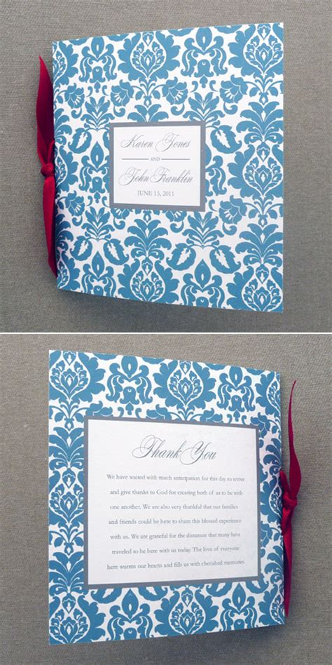 wedding program template  page rococo square booklet
