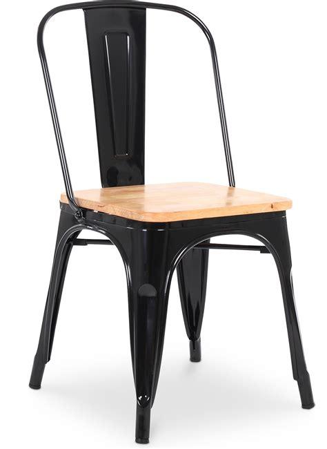 Chaise Métal Noir Assise Bois Clair Industriel