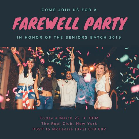 customize  farewell party invitation templates