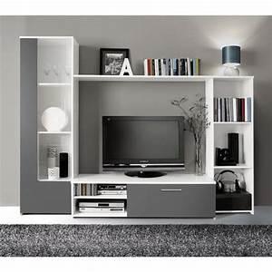 Meuble Mural Chambre : finlandek meuble tv mural pilvi 220cm blanc et gris achat vente meuble tv pas cher couleur ~ Teatrodelosmanantiales.com Idées de Décoration