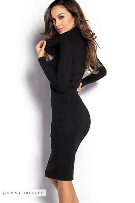 U0026quot;Valenciau0026quot; Black Long Sleeve Cowl Neck Bodycon Sweater Dress | Sleeve Cowl neck and Long sleeve