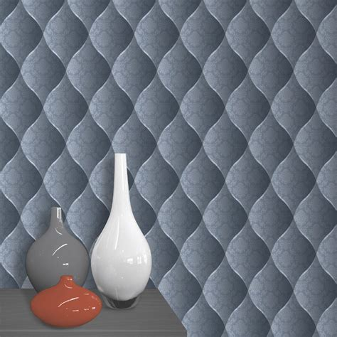 muriva damask padded effect wallpaper blue