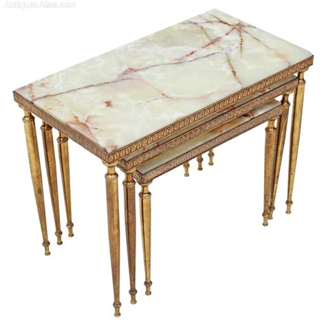 antique brass table ls nest 3 onyx marble brass tables side occasional